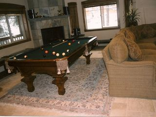 Mammoth Lakes townhome photo - Downstairs Living Room-8 ft carved wood pool table