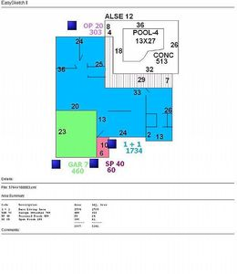 Floor plan - Blue highlights home, green highlights garage; private pool @ lanai