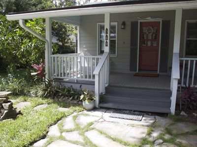 Two and a half blocks from the ocean, this little beach cottage is old Florida.