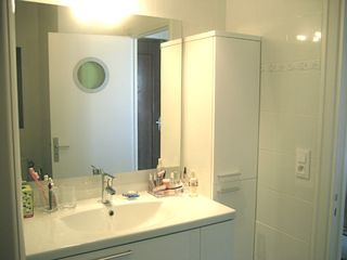 Lyon studio photo - Bathroom vanity & storage cabinet (shower on left)