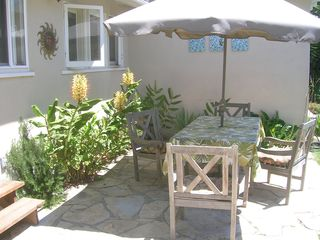 Santa Barbara bungalow photo - The back patio with the gingers in bloom (summer time). The fragrance is amazing