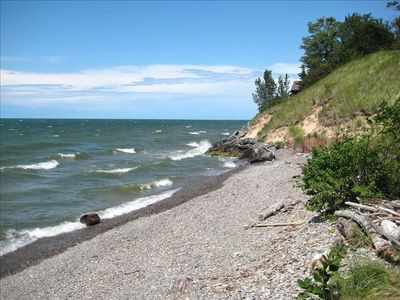 Private beach cove backed by natural dunes.    Waves--just like the ocean!