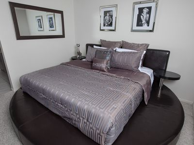 King size bed in private master bedroom