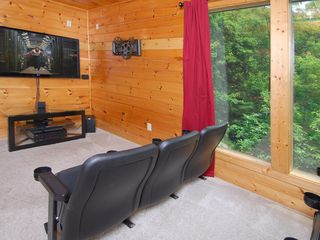 Wears Valley cabin photo - Theater Room:60' Plasma TV, 5.1 Surround Sound, Blu-ray Player, ESPN Game Plan