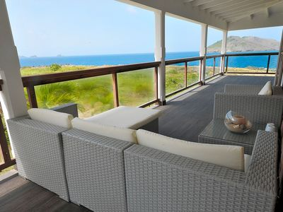 St Barthelemy villa rental - Covered terrace of your bedroom..A small lounge to enjoy the last rays of sunset