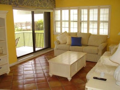 Family room over looking the beach. Private beach access is steps away.