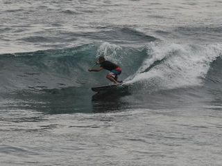Kailua Kona condo photo - Surfer Enjoying Waves at Banyan Tree Photo Copied From Tripadvisor