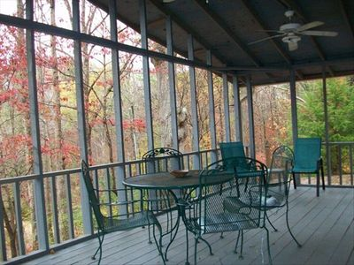 Cottage porch in fall. Overlooks the Waldo Covered Bridge