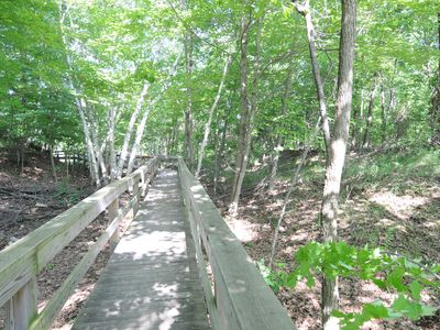 boardwalk to secluded Lake Ontario beach