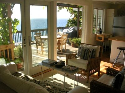 Beach Bungalow: Kitchen open to LR, big deck, grill, lounge chairs & grape vines