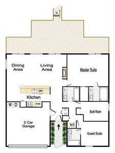 Floor plan is scaled; master is 14x18; so you can estimate the other room sizes.