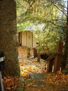 Entrance to cabin in Fall