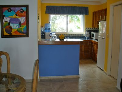 Fully equipped kitchen has attractive view of gardens on non-ocean side.