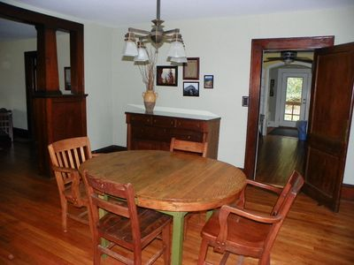 Hot Springs cabin rental - Spacious dining room with period furniture and lighting.