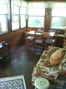 Lebanon cottage rental - 3 season enclosed porch overlooking the lake