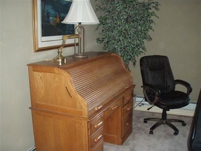 Oak Rolltop desk with Xtreme high speed internet access