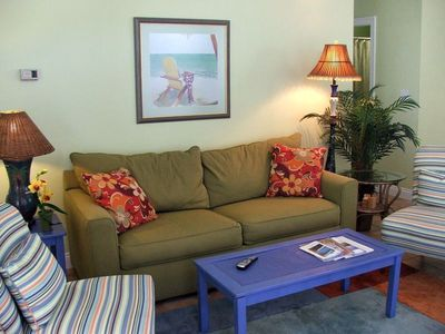 Relax in the comfortable living area with Gulf view!
