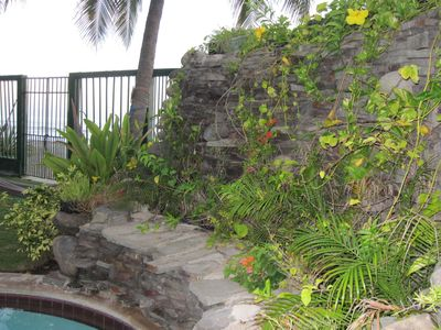 This rock plant garden is at the end of the pool facing beach..