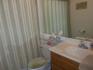 Bathroom w/tub and shower.