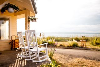 Bainbridge Island house photo - Front porch towards the beach