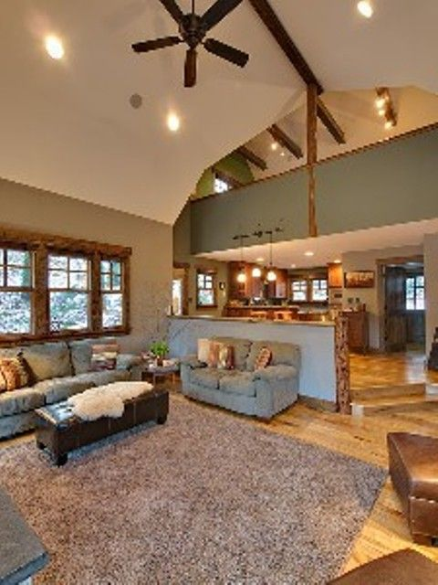 Open feel of vaulted ceilings in the living room.