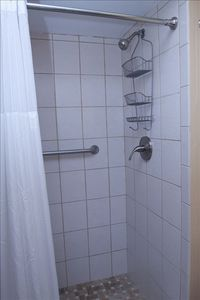 Tiled Shower in Second Bath with grab bar. Second bath also has walk-in closet.