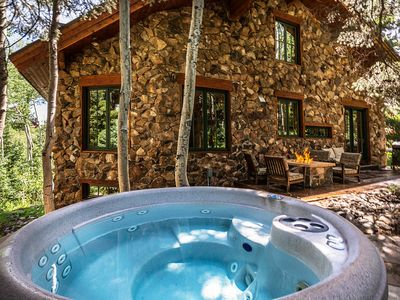 Secluded Hot Tub Nestled into the Aspen & Pine Trees with Stream and Fire Pit