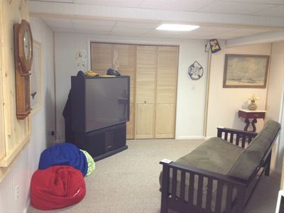 Teen area with TV & microwave for popcorn night & futon for additional sleeping.