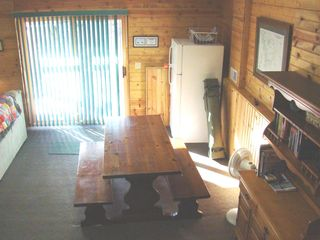 Crandon cabin photo - Lower level dining with walk-out patio doors. 2nd refrigerator.