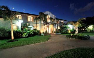 Sandy Lane villa photo - Exterior of Saramanda at night. the villa is fully enclosed with parking