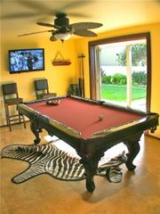 Billiards Room With Plasma TV and Professional Dart Board Opens To Putting Green - Point Loma estate vacation rental photo