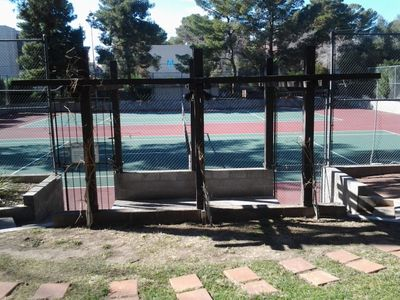 Community tennis courts available to guests.