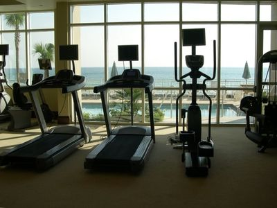 Fitness center with ocean view