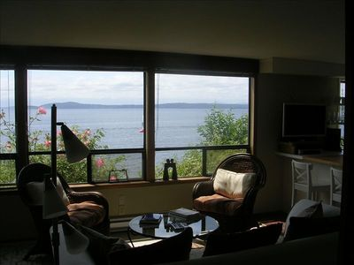Garden Level Unit: 3 big windows - views from Mt. Rainier to the Olympic Mtns.
