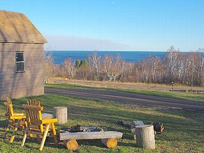 Camp fire circle with view of Lake Superior