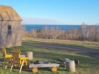 Lutsen house photo - Camp fire circle with view of Lake Superior