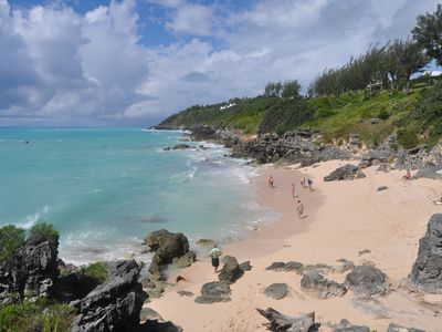 Beautiful Church Bay, a snorkellers paradise just a 5 minute walk.