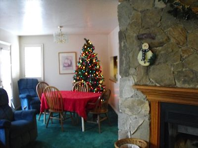 A tree for Christmas in the dining area
