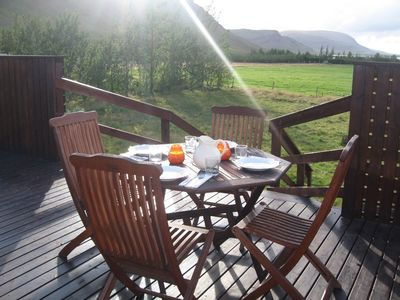 South Iceland cottage rental - Eearly evening on the terrace in august