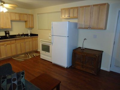 Queen Emma Studio Kitchen with appliances, utensils, coffee & tea.