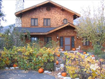Idyllwild house rental - Cabin at Chimney Rock Halloween entrance