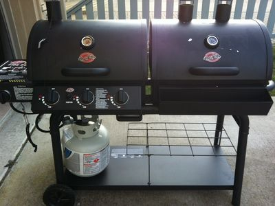 double grill....one side gas the other side charcoal