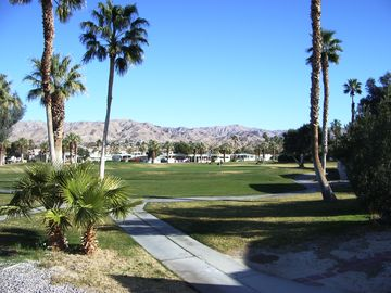 Desert Hot Springs mobile home rental - View of the 7th hole of the executive golf course and the beautiful mountains.