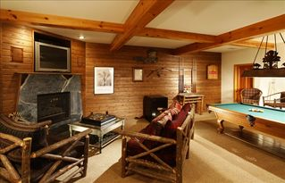 Aspen house photo - Games area with fireplace, pool table and Murphy Bed
