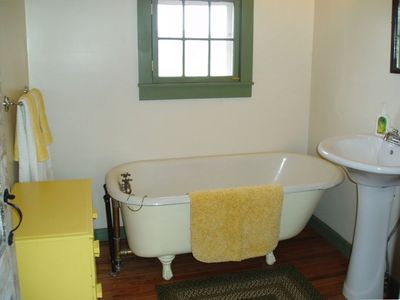 2 Bathrooms in Farmhouse: 1 with Clawfoot Tub; 1 with Shower
