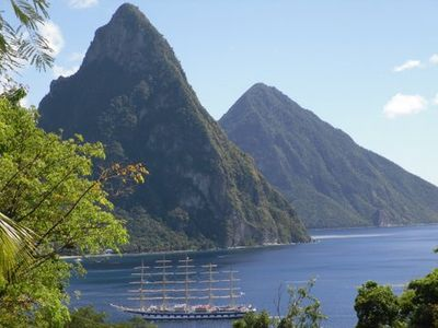 View of the Pitons from balcony
