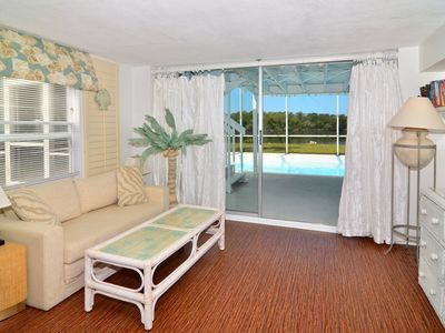 Pool bedroom has sleeper sofa, sitting area/TV eye-level to jolly good scenery