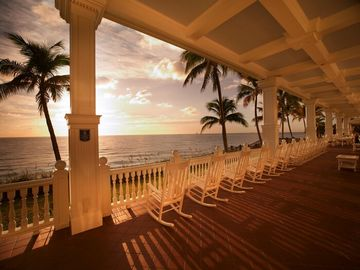 The veranda overlooking the beautiful Atlantic Ocean as the sun rises.