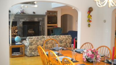Fireplace from dining room