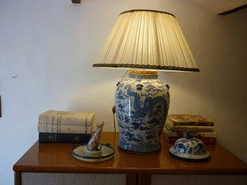 Antique chinese vase lamp and books
